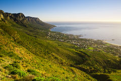 Table mountain. Green grassy rocky hill, table mountain, south africa Royalty Free Stock Image