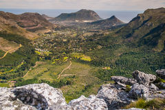 Table mountain. Green grassy rocky hill, table mountain, south africa Royalty Free Stock Photos