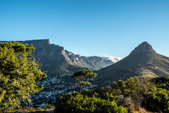 Table Mountain and Lions Head in Cape Town. Table Mountain and Lions Head as seen from the summit of Signal Hill in Cape Town, South Africa Royalty Free Stock Photos