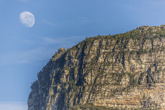 Table Mountain with Moon Royalty Free Stock Photography