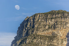 Table Mountain with Moon Royalty Free Stock Images