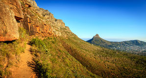 Table Mountain National Park. Panoramic view from Platteklip Gorge trail at Table Mountain in Cape Town, South Africa Stock Photos