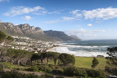 Table Mountain overlooking camps bay beach Royalty Free Stock Images