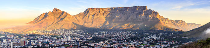 Table Mountain. Panoramic view of Table Mountain in Cape Town, South Africa at sunset Stock Image