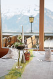 Table in mountain restaurant Royalty Free Stock Images