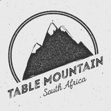 Table Mountain in , South Africa outdoor. Table Mountain in , South Africa outdoor adventure logo. Round mountain vector insignia. Climbing, trekking, hiking vector illustration