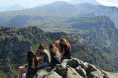 Table mountain, South Africa. Tourists in table mountain in Cape T own, South Africa Stock Image