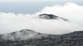 Table Mountain Summit Clouds. Table Mountain views with thick cloud moving over the summit of the mountain, in Cape Town, South Africa, in high definition stock footage