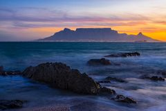 Table Mountain sunset royalty free stock photo