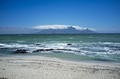 Table Mountain with 'table cloth' covering S Africa Royalty Free Stock Photo