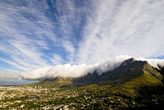 Table Mountain and the Tablecloth. Cape Town, South Africa stock photo