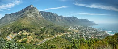 Table Mountain and twelve apostles Royalty Free Stock Images