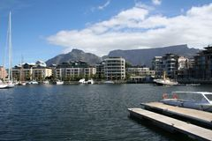 Table Mountain from V&A Waterfront. View of Table Mountain from V&A Waterfront in Cape Town, South Africa Royalty Free Stock Photos