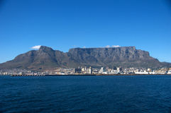 Table Mountain View, CapeTown South Africa. View of Soccer Stadium, Capetown South Africa from Boat on the way to Robben Island royalty free stock photography