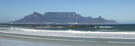 Table Mountain. A view of the magnificent Table Mountain taken from across the bay at Big Bay Stock Photos