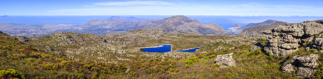 Table Mountain view. Panoramic view towards False Bay from Table Mountain in Cape Town, South Africa Royalty Free Stock Photo