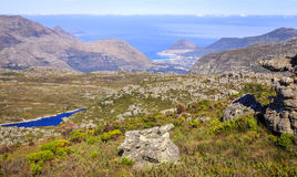 Table Mountain view. Scenic view towards False Bay from Table Mountain in Cape Town, South Africa Stock Image