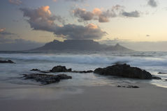 Table mountain and waves Stock Photos