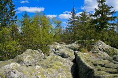 Table Mountains. Craggy rocks scenery. Weathered grey cragged rocks in Sudetes / Poland Stock Photo