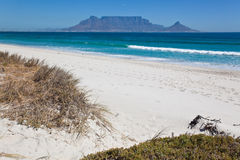Table Mountian viewed from Bloubergstrand beach Ca Royalty Free Stock Photo