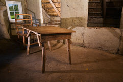 Table in the mud hut_horizontal Royalty Free Stock Photos
