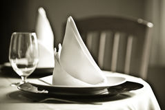 Table and napkins stock images