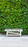 Table and nature background. A wooden table with green leaves background Stock Photos