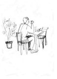 At the table near a plant. Picture of fellow being at a table with the cup of coffee stock illustration