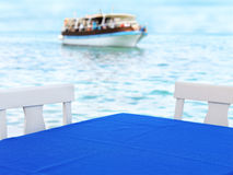Table nearby the sea Royalty Free Stock Image