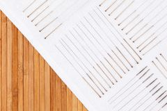 Table with needles for acupuncture. Silver needles for traditional acupuncture medicine on table. Table with needles for acupuncture. Silver needles for Royalty Free Stock Images
