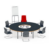 Table for negotiations with a red chair Stock Photo