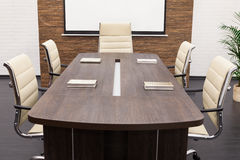 Table for negotiations with the screen Stock Image