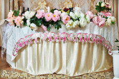 Table for newlyweds at wedding of Russian Royalty Free Stock Photo