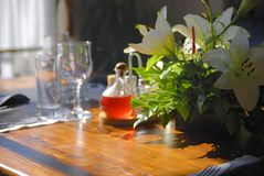 Table in nice restaurant Royalty Free Stock Images