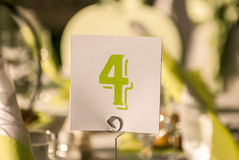 Table number. Four in a restaurant stock images