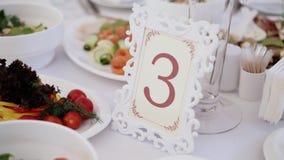 Table number three stock footage