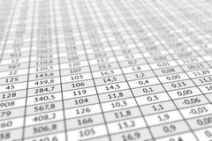 Table with numerical data Stock Images