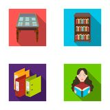 A table with old documents, bookshelves, folders, a visitor. A library and a bookstore set collection icons in flat. Style vector symbol stock illustration Stock Images