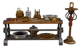 Table with old objects. 3D render of a table with old steampunk objects and a lamp Stock Photo