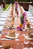 Table for an outdoor event in a tropical location Royalty Free Stock Image