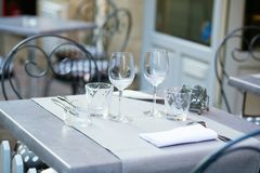 Table of outdoor French cafe Stock Photo