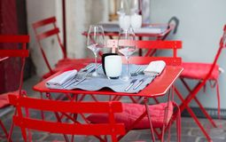 Table of outdoor French cafe Royalty Free Stock Image