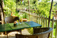 Table in outdoor Thai restaurant. Shot in Western Cape, South Africa royalty free stock photography