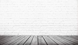 Table over white  brick wall. Table over white brick wall background, template royalty free stock photos