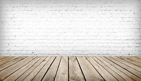 Table over white brick wall. Wood table over white brick wall background, template royalty free stock images