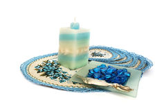 Table overlays, candle, ash-tray Stock Photo
