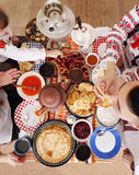 Table with pancakes. Shrovetide top view Royalty Free Stock Images