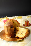 Table with panettone and christmas decorations Royalty Free Stock Photo