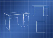 Table on paper blueprint, 3D rendering. Illustration Stock Photography