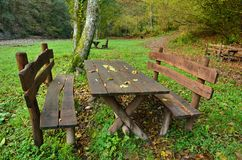 Table in the park Stock Photo